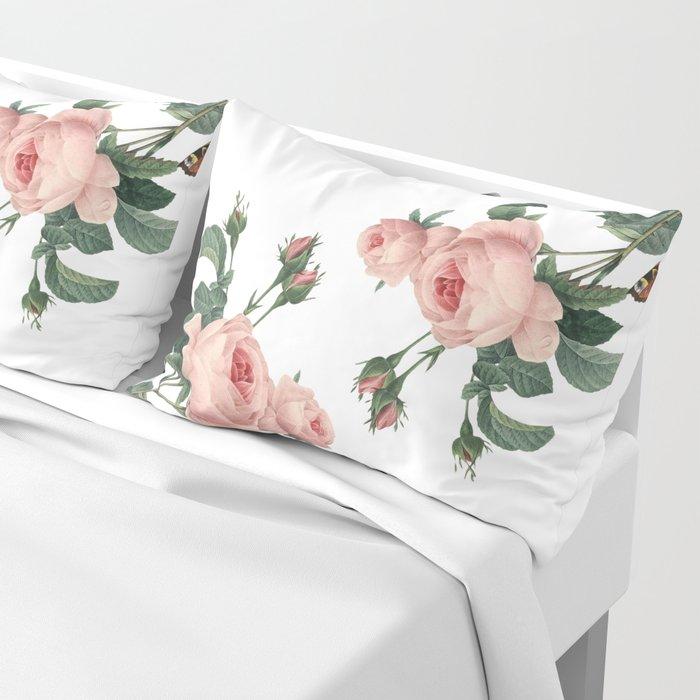 Butterflies in the Rose Garden on White Pillow Sham