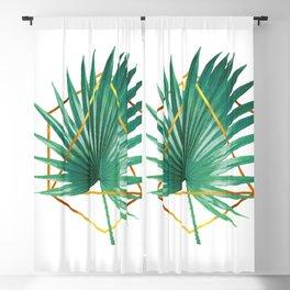 Minimal Tropical Palm Leaf - Palm And Gold - Gold Geometric Shape - Modern Tropical Wall Art - Green Blackout Curtain