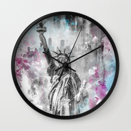 POP ART Statue of Liberty  Wall Clock