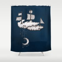 ship Shower Curtains featuring SHIP by Jumanaah Hiasat