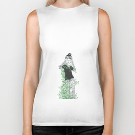 nature illustration girl with green leafs Biker Tank
