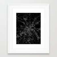 poland Framed Art Prints featuring Warsaw map poland by Line Line Lines