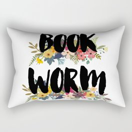 Floral Bookworm Rectangular Pillow