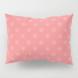 Cotton Candy Pink on Coral Pink Snowflakes Pillow Sham