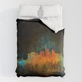 Frankfurt am Main, City Cityscape Skyline watercolor art v4 Comforters