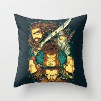 the hobbit Throw Pillows featuring The Hobbit by anggatantama