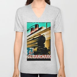 Vintage Denmark, Chemin de Fer L'Etat Danois Locomotive Train Travel Poster Unisex V-Neck