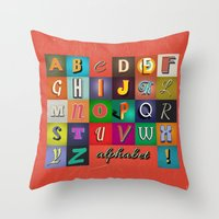 alphabet Throw Pillows featuring Alphabet by rob art | simple