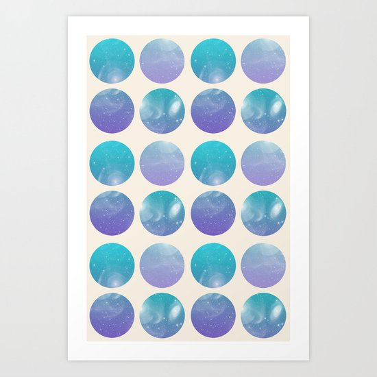 Universal Geometry 2 - Galaxy Polkadots in purple and aqua Art Print