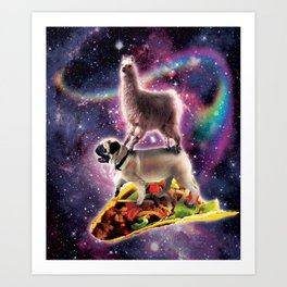 Rainbow Space Llama On Pug Riding Taco Art Print