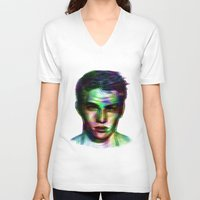 boy V-neck T-shirts featuring Boy by Ana Montaño