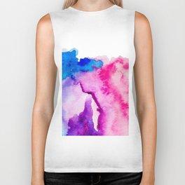 Modern pink blue abstract watercolor wash paint Biker Tank