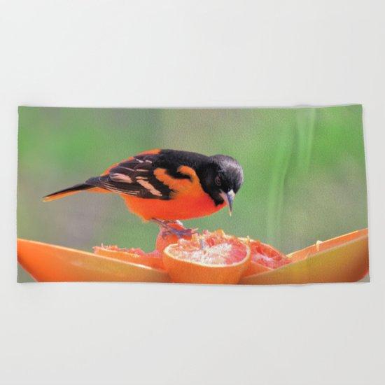 Orange Juice for Breakfast (Baltimore Oriole) Beach Towel