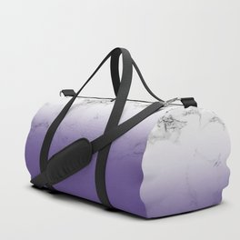 Modern white marble ultra violet purple ombre gradient Duffle Bag
