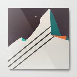 Night Face Mountain Stripes Metal Print