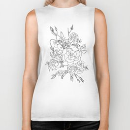 Floral Ink - Black & White Biker Tank