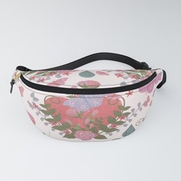 Coral pink green glitter butterfly floral  Fanny Pack