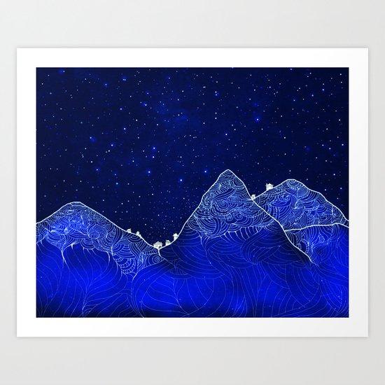 Somewhere up above the stars Art Print