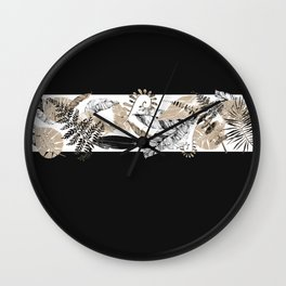 Black and Tan Foliage Wall Clock