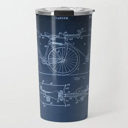 1898 E.M. Hunt Tandem Patent Art Print - Vintage Bicycle Patent  - Bike Patent Travel Mug