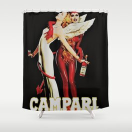 Vintage Campari Italian Bitters Aperitif Angel and Devil Advertisement Poster Shower Curtain