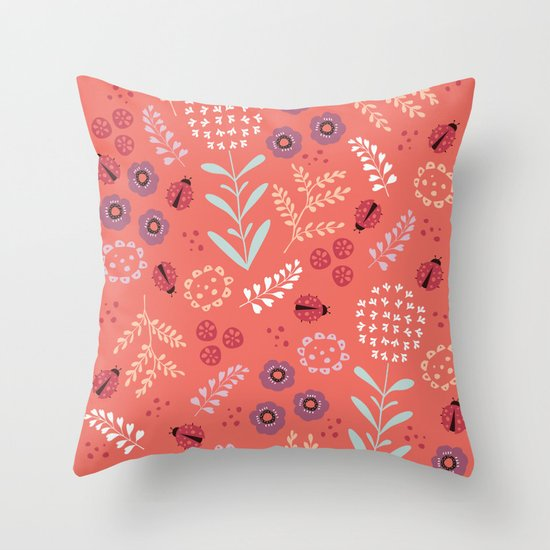 Little Ladybugs Throw Pillow