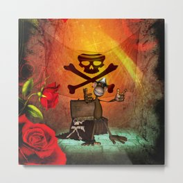 Funny pirate monkey with flag Metal Print