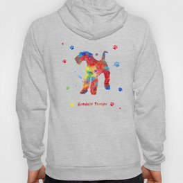 Airedale Terrier Watercolor Colorful Abstract Hoody