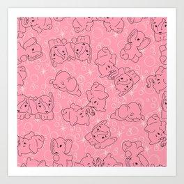 Pink Elephants on Pink Art Print