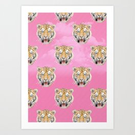 TIGER PINK PATTERN Art Print