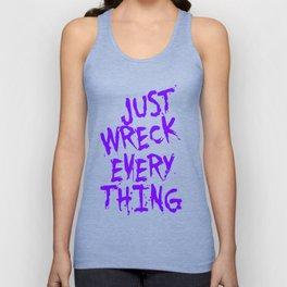 Just Wreck Everything Violet Blue Grunge Graffiti Unisex Tank Top