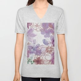 Rosie Outlook - muted purples Unisex V-Neck
