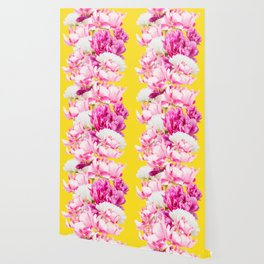 Beauties of nature - large pink flowers on a yellow background Wallpaper