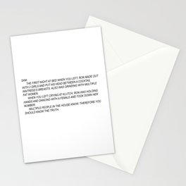 jersey shore anonymous note Stationery Cards