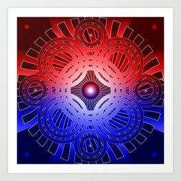 Red & Blue Circles Pattern Art Print