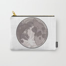 Wolf silhouette against the full moon // greyscale   Carry-All Pouch