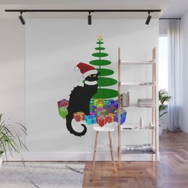 Christmas Le Chat Noir With Santa Hat Wall Mural
