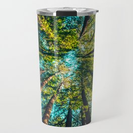 Looking Up At Trees In A Dense Forest Travel Mug