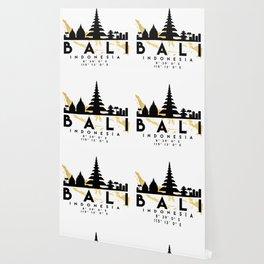 BALI INDONESIA SILHOUETTE SKYLINE MAP ART Wallpaper