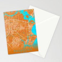 Pasadena, TX, USA, Gold, Blue, City, Map Stationery Cards