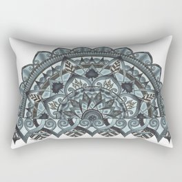 Half Geo-Circle. Grey. White Background. Rectangular Pillow