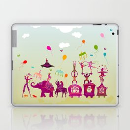 colorful circus carnival traveling in one row during daylight Laptop & iPad Skin