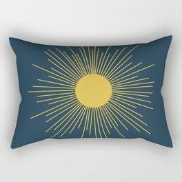 Mid-Century Modern Sunburst II in Light Mustard and Navy Blue Rectangular Pillow