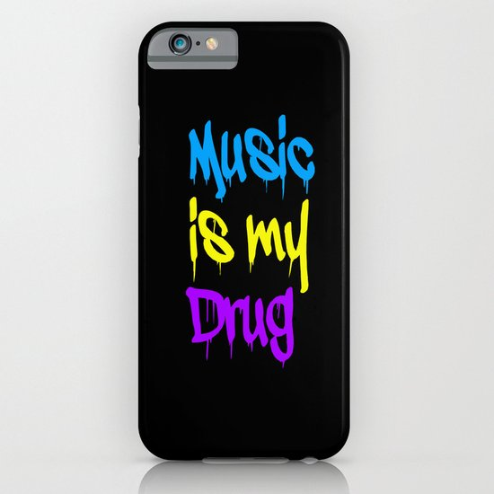 Music Is My Drug Blue, Yello and Purple iPhone & iPod Case