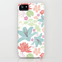 Teal blue and orange Japanese pond florals iPhone Case
