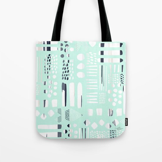 Abstract Marks Mint Tote Bag