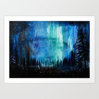 northern lights Art Prints featuring Northern Lights by VivianLohArts