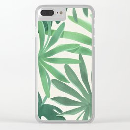 Tropical Monstera Green Leaves Watercolor Design Clear iPhone Case
