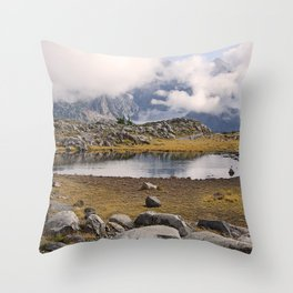 BLUE AND GOLD MOUNTAIN SOLITUDE Throw Pillow