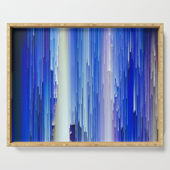 Frozen blue waterfall abstract digital painting Serving Tray